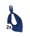 2x zakdoek bandana kobalt blauw