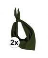 2x zakdoek bandana olijf groen